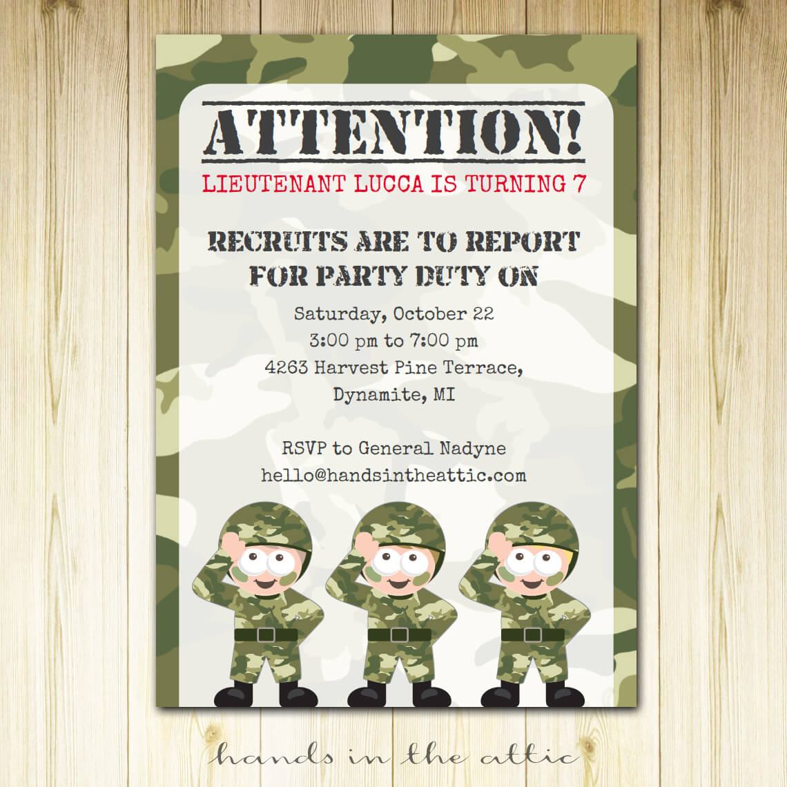 Army Party Invitation | Printable Template | Printable Stationery ...