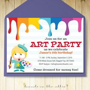 Image of printable Art Party Invitation