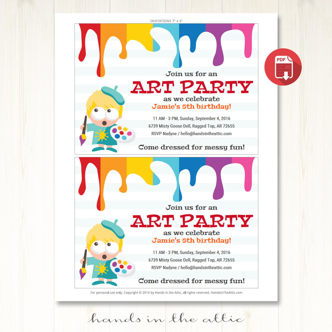 Art Party Invitation | Printable Template | Printable Stationery ...