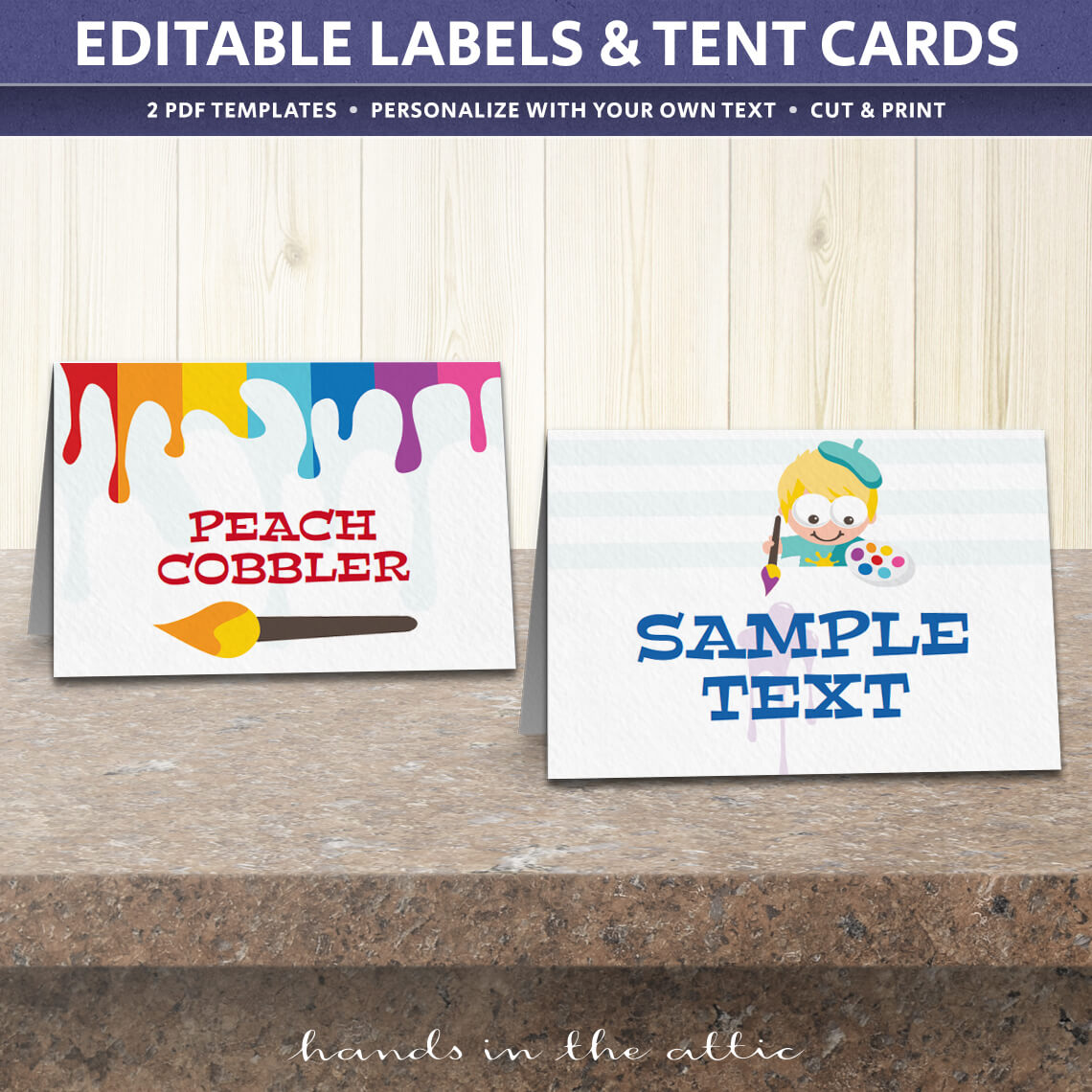 Art birthday party tent cards template table place cards for Free tent card template