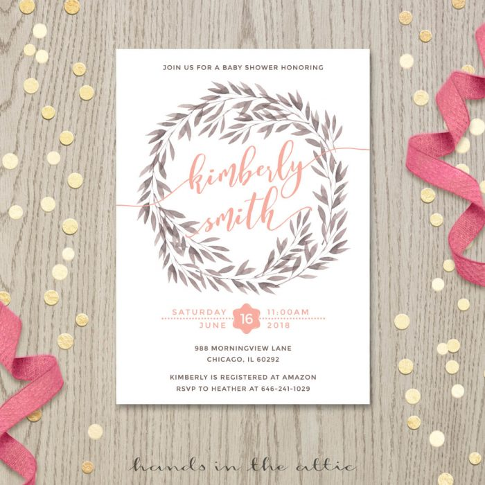 Image of Wreath Baby Shower Invitation by Hands in the Attic