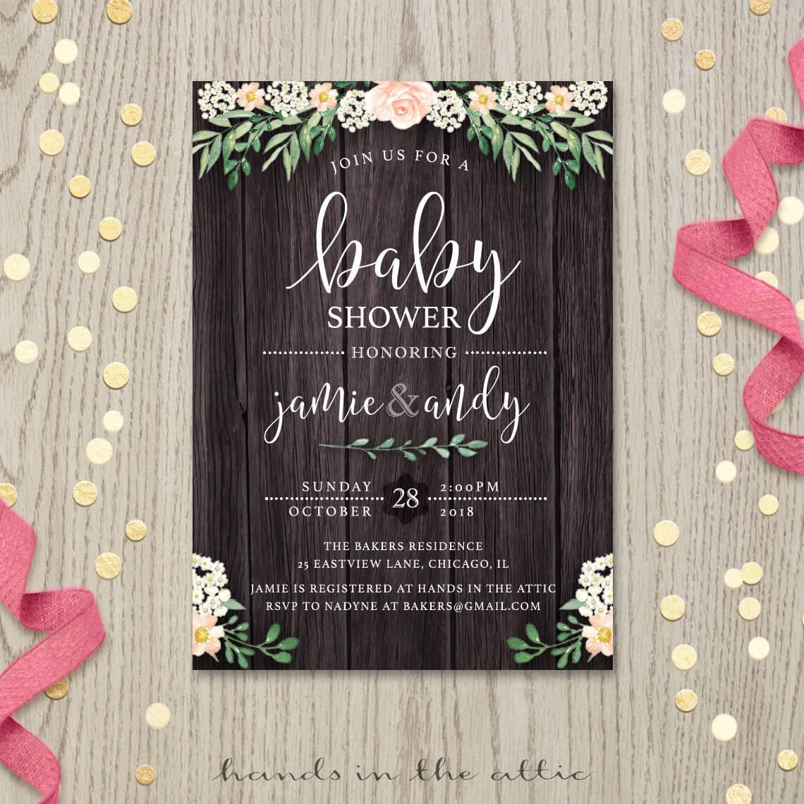 rustic baby shower invitation farfalla creations