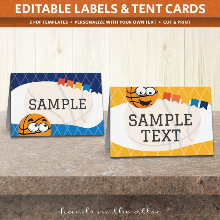 Image of editable Basketball Party Tent Cards