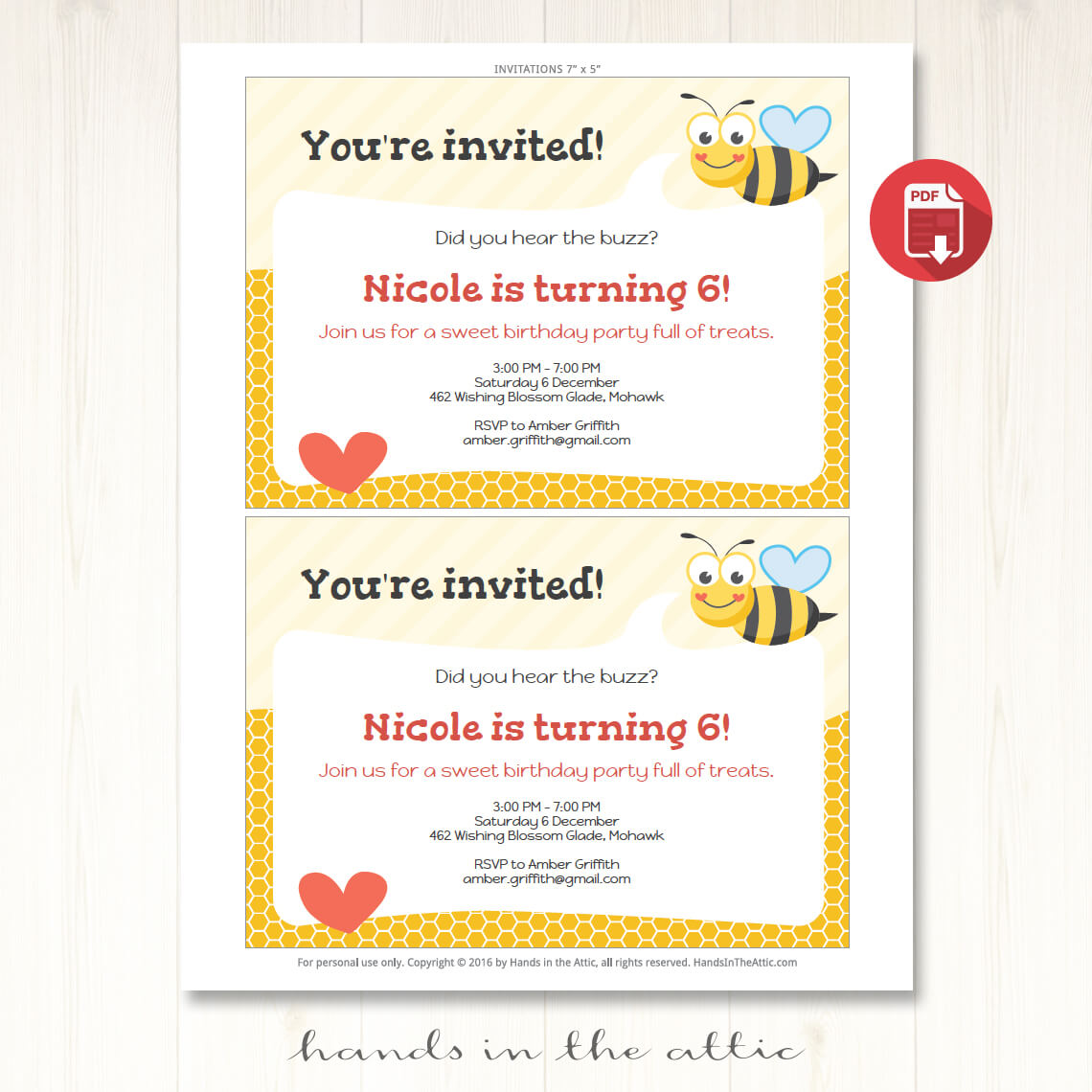 Ble Bee Party Invitation Printable