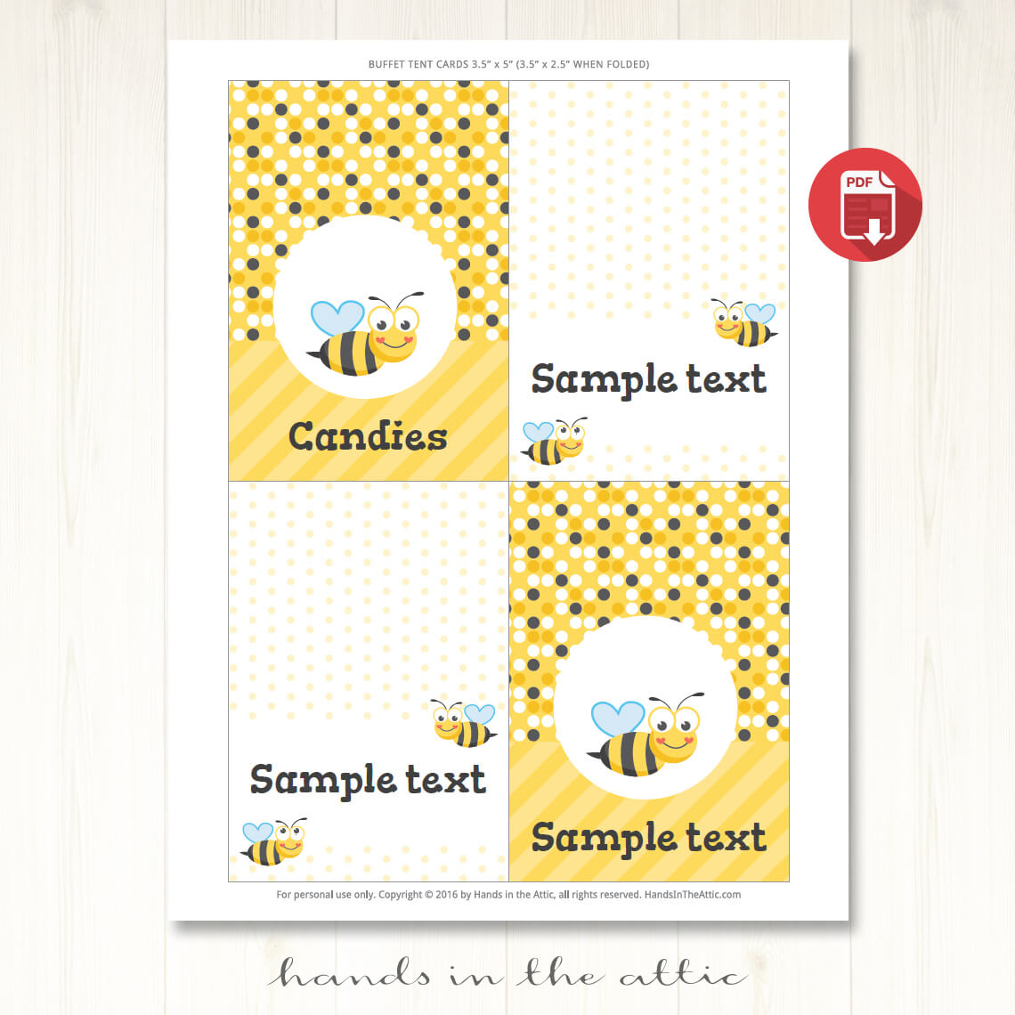 bumble bee party tent cards template