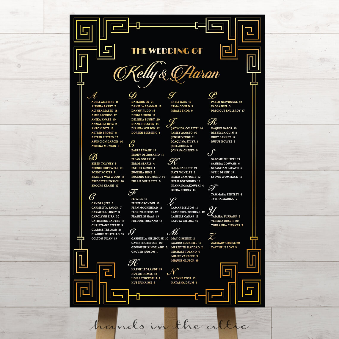 Black And Gold Geometric Wedding Seating Chart