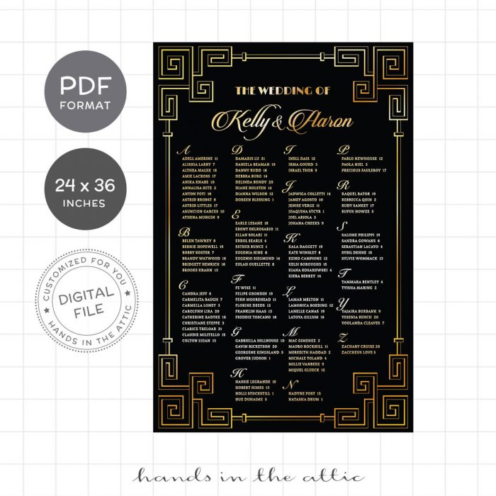 Black And Gold Opulent Wedding Seating Chart