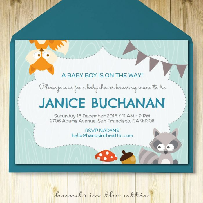 Image of printable Blue Woodland Party Invitation
