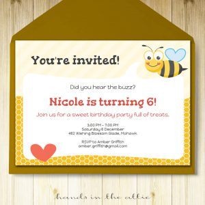 Image of printable Bumble Bee Party Invitation