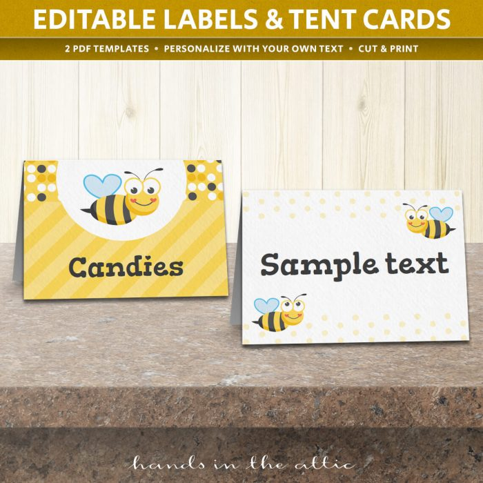 Image of editable Bumble Bee Party Tent Cards