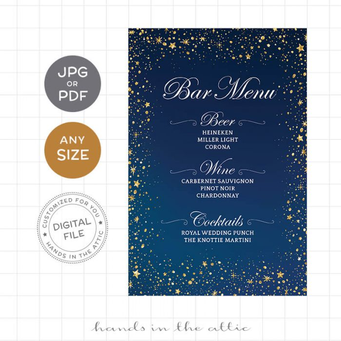 Digital Bar Menu Wedding Sign