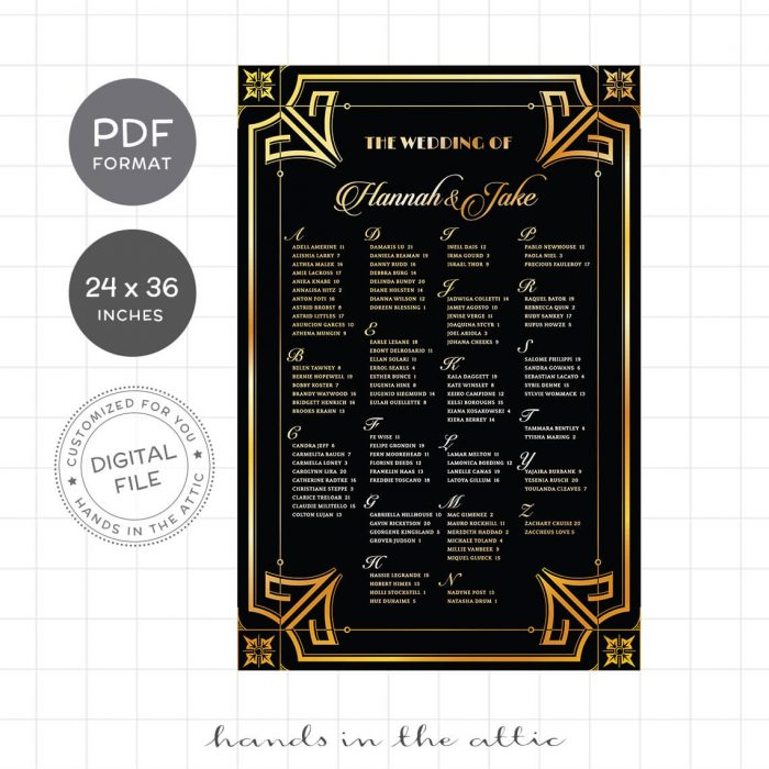Glamorous 1920s 1930s Wedding Seating Chart