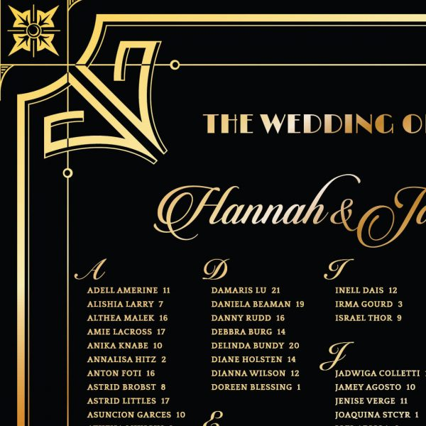 Glamorous Art Deco Wedding Seating Chart