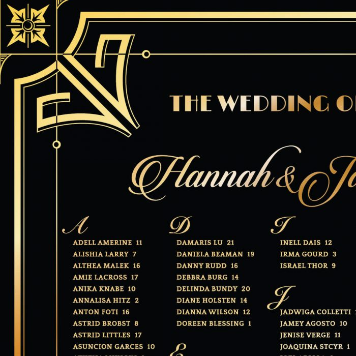 Glamorous Art Deco Wedding Seating Chart