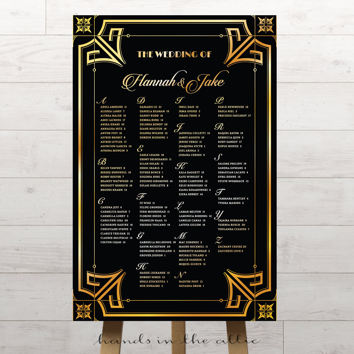 Glamorous Roaring 20s Wedding Seating Chart