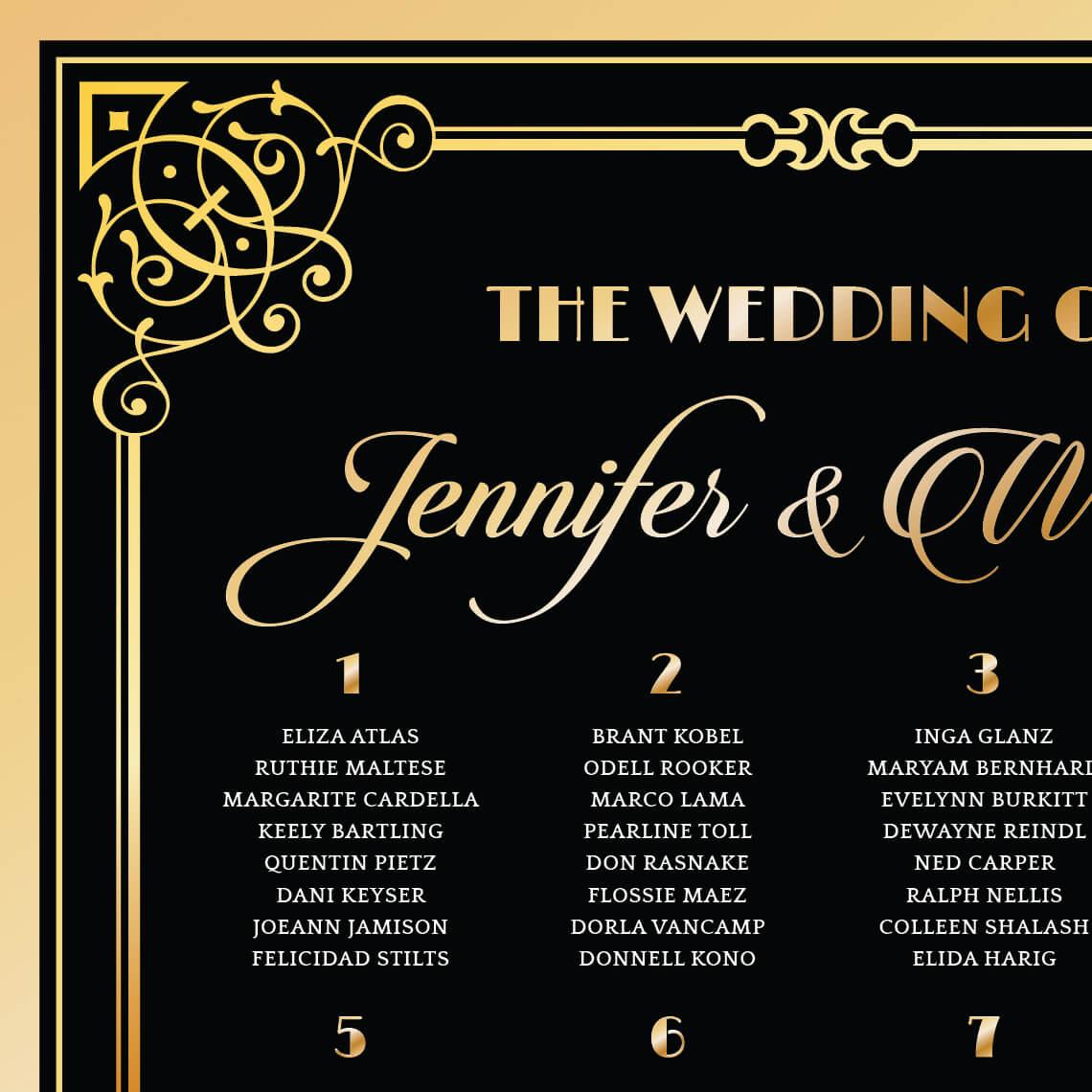 Great Gatsby Art Deco Wedding Seating Board