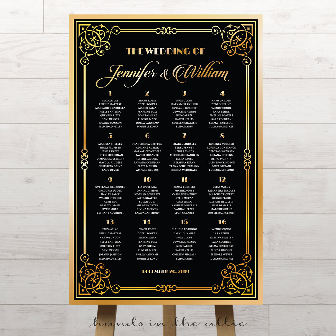 Great gatsby art deco wedding seating chart printable stationery