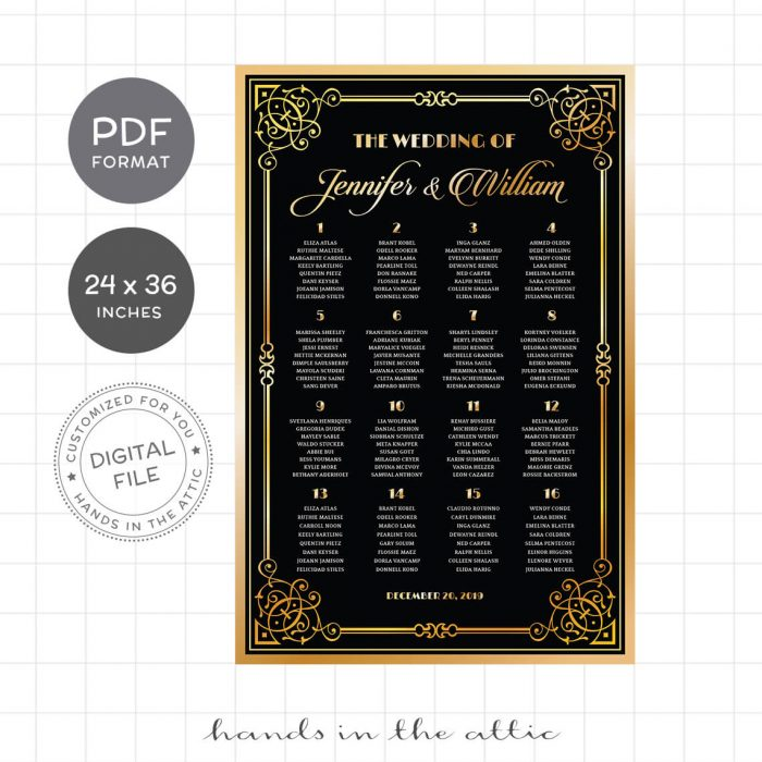 Great Gatsby Art Deco Wedding Table Plan