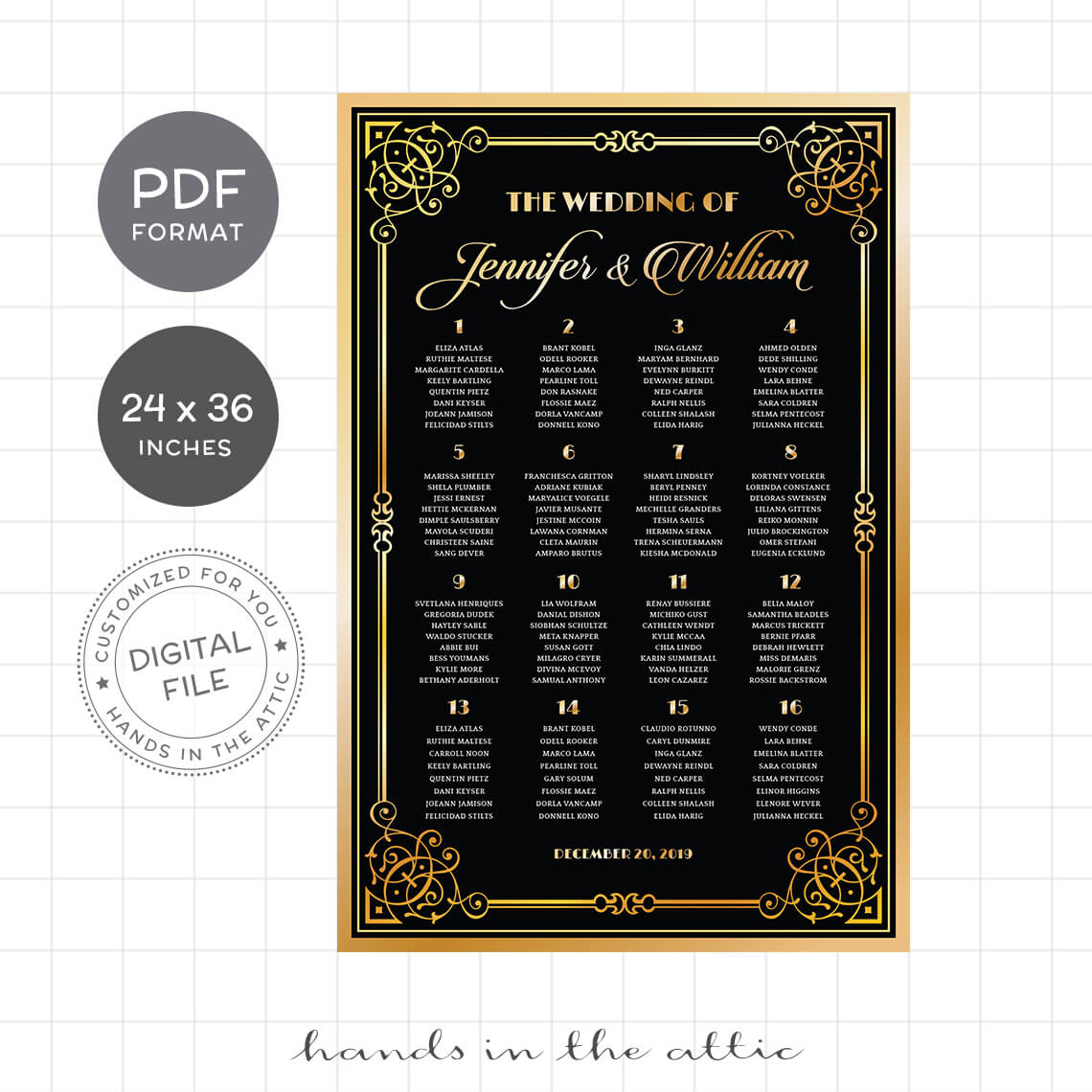Great Gatsby Art Deco Wedding Seating Chart Hands In The