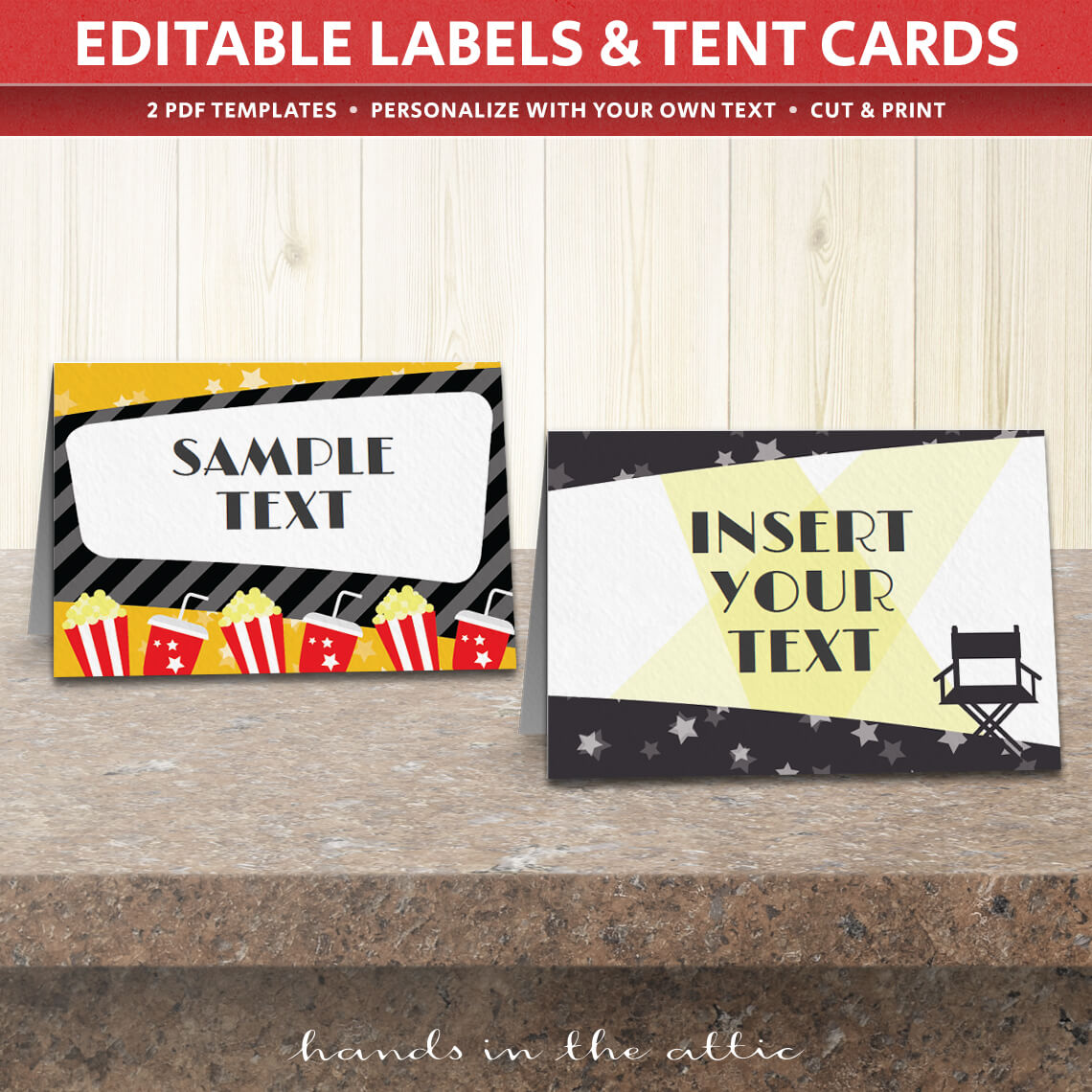 movie themed party tent cards template table place cards hands