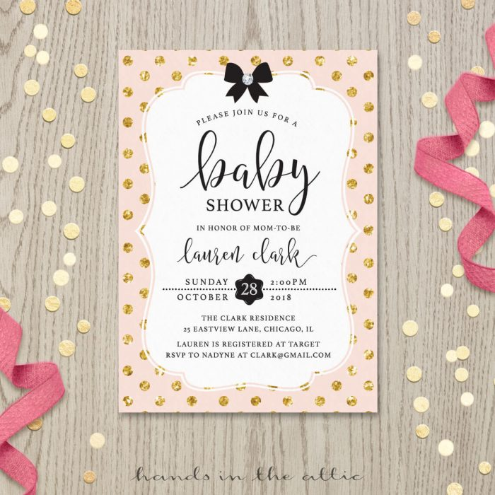 Image of Pink and Gold Invitation