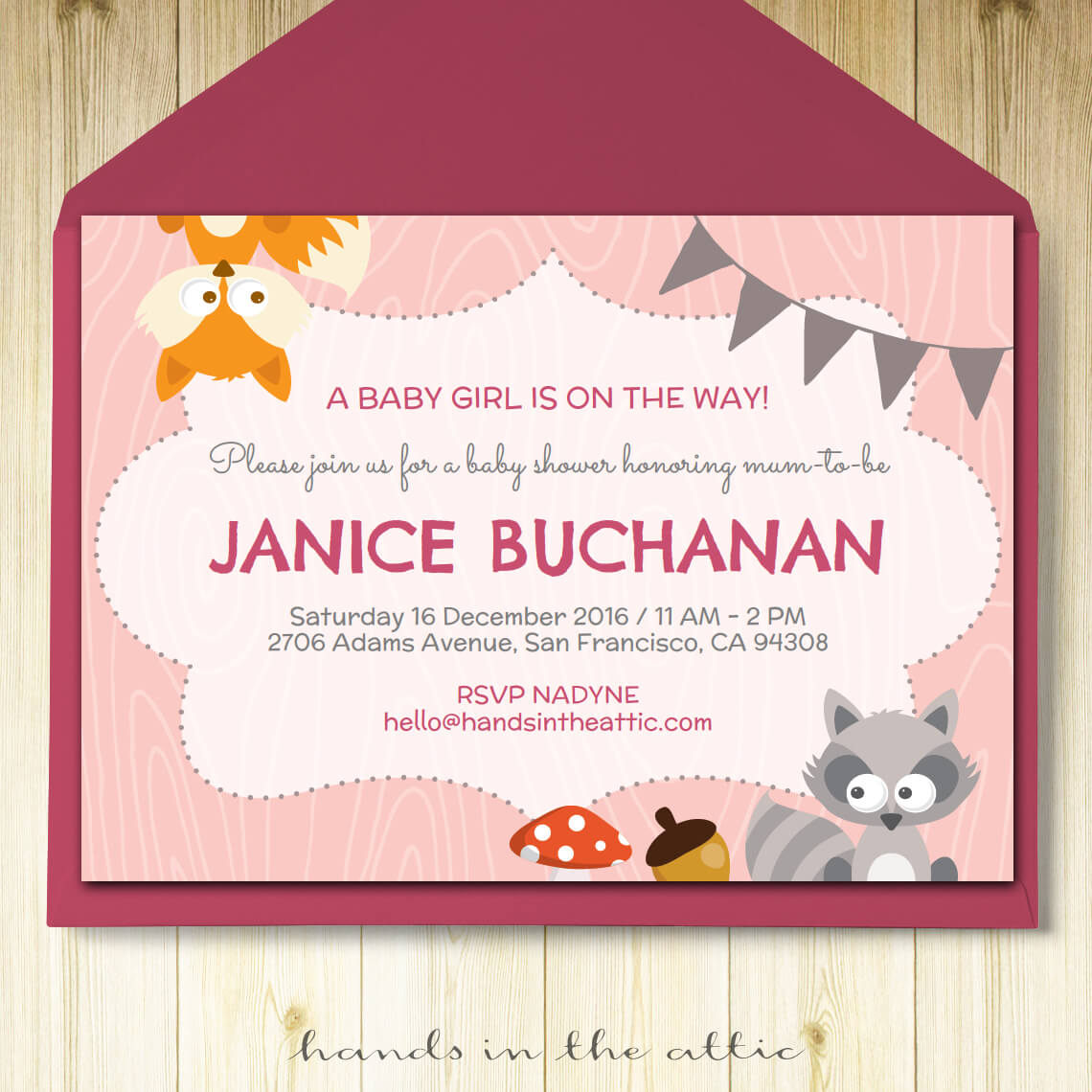 Image of printable Pink Woodland Party Invitation