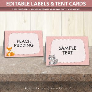 Woodland Animals Table Tent Cards Template & Table Place Cards Template | Printable Tent Cards | Hands in the Attic