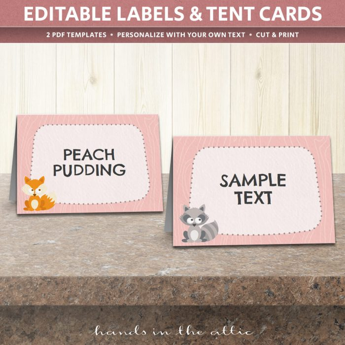 Image of editable Pink Woodland Party Tent Cards