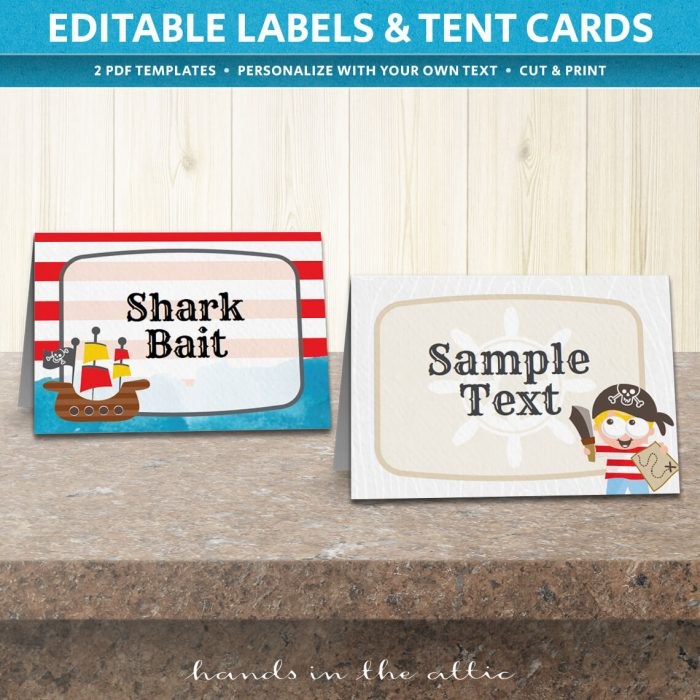 Image of editable Pirate Party Tent Cards