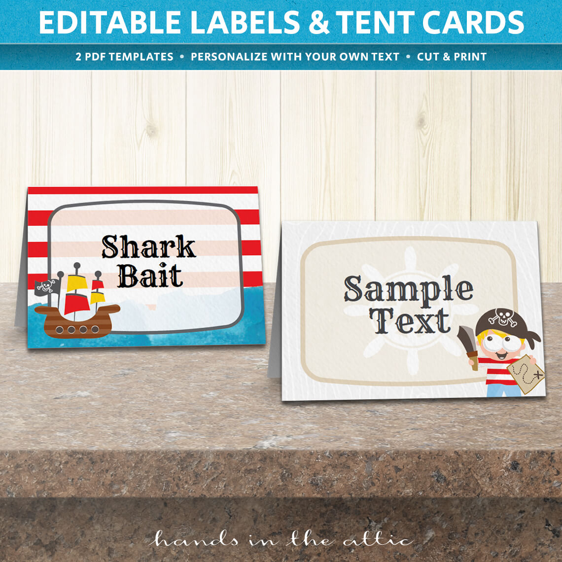 pirate birthday party tent cards template printable stationery