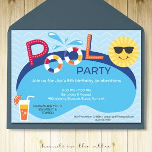 Image of printable Pool Party Invitation