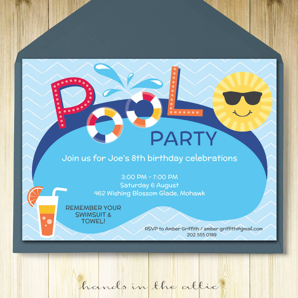 pool party invitation printable template printable stationery weddings parties celebrations. Black Bedroom Furniture Sets. Home Design Ideas