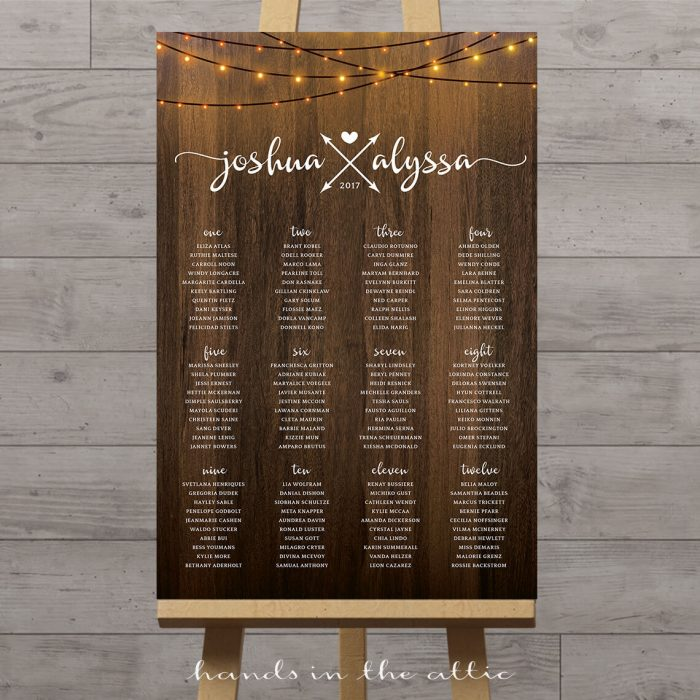 Image of Vertical Wedding Seating Chart with String Lights