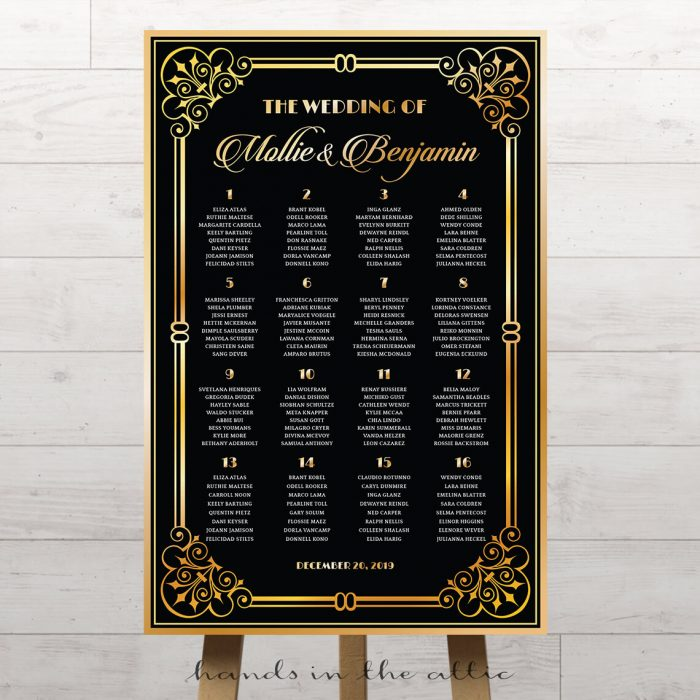 Vintage Charm Art Deco Themed Wedding Table Plan