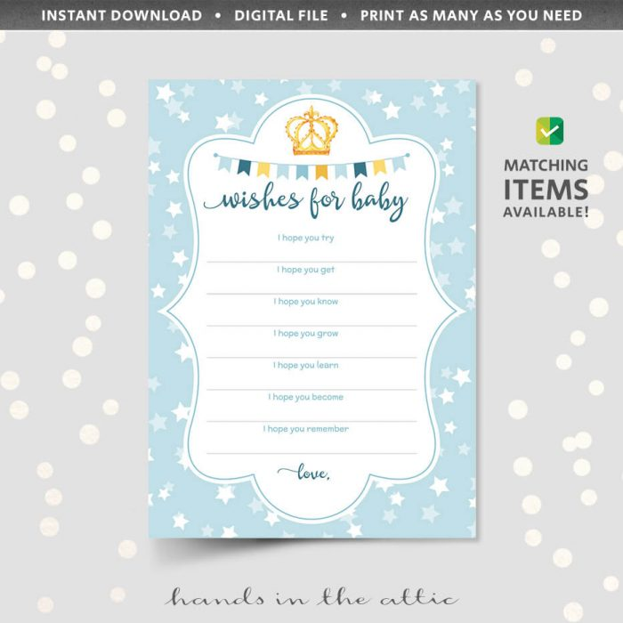Blue Wishes For Baby Cards Printable