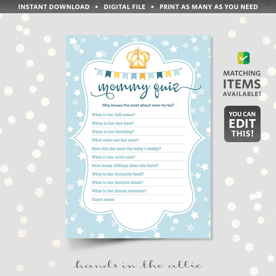 Editable Mom Quiz Game Baby Shower Printable Hands In The Attic
