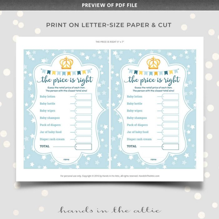 The Price Is Right Baby Shower Game Change Item List