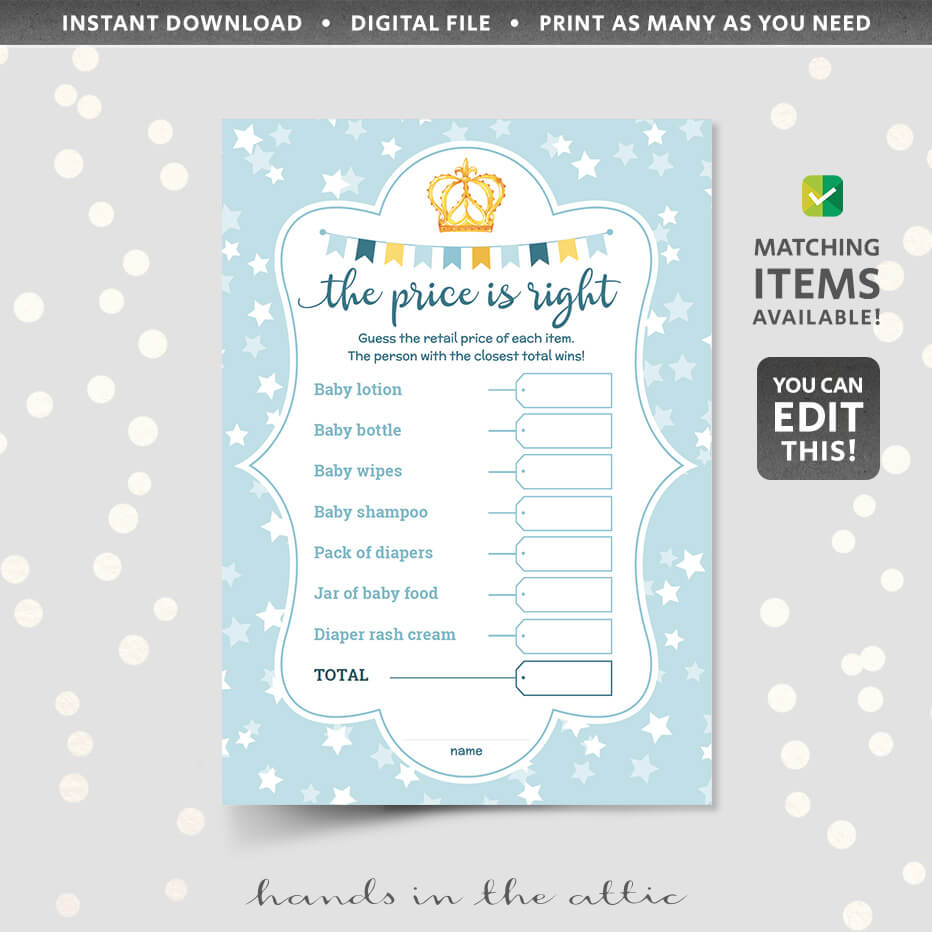 image relating to The Price is Right Baby Shower Game Free Printable identified as The Value is Specifically Kid Shower Recreation Editable