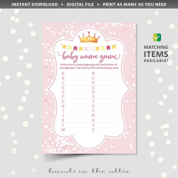 Pink Baby Name Game Printable