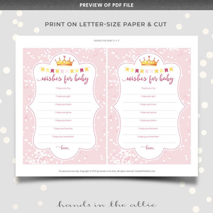 Pink Wishes For Baby Printable