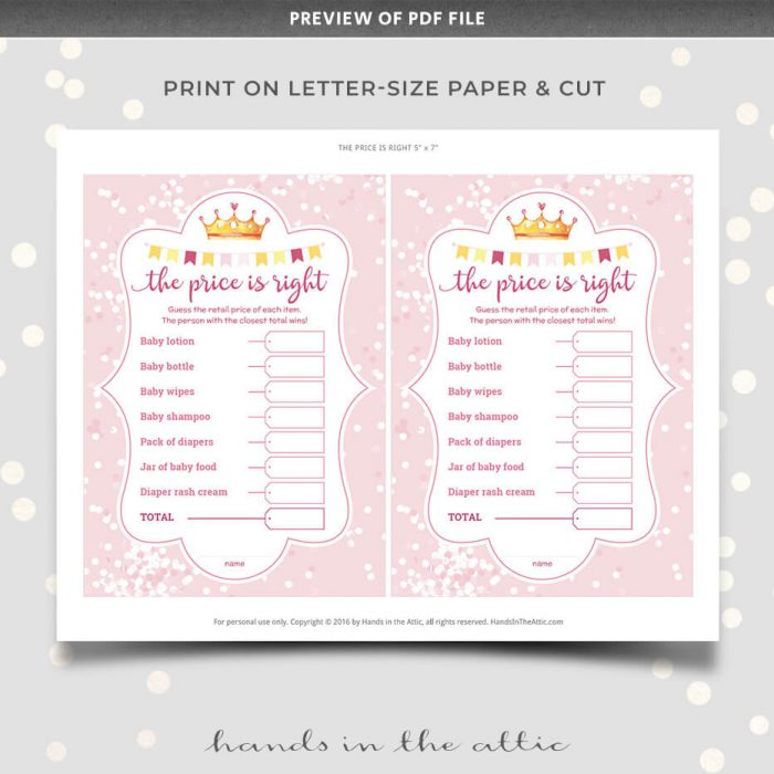 Price Is Right Baby Shower Game Editable