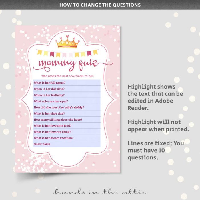 Who Knows Mom Best Baby Shower Game Editable