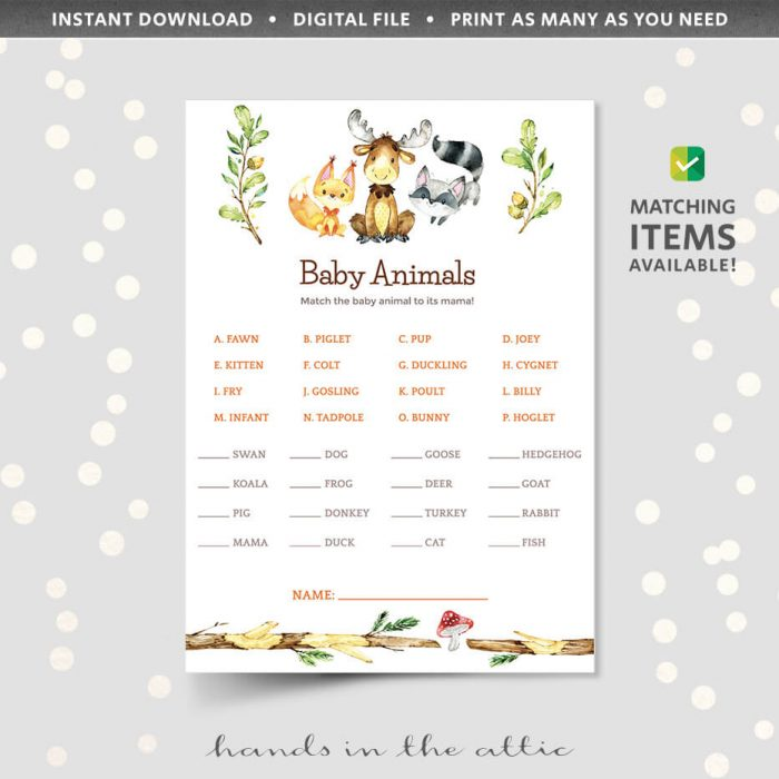 Baby Animals Matching Game Woodland Animals