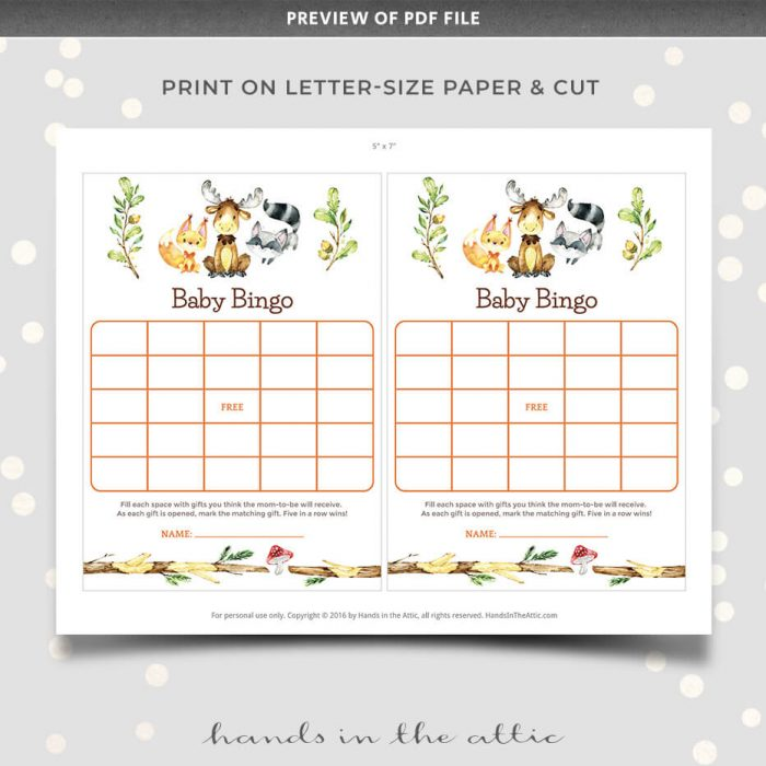 Baby Bingo Printable Woodland Animals Baby Shower Game
