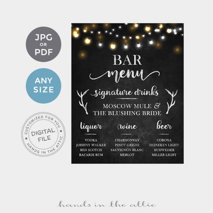 Bar Menu Wedding Reception