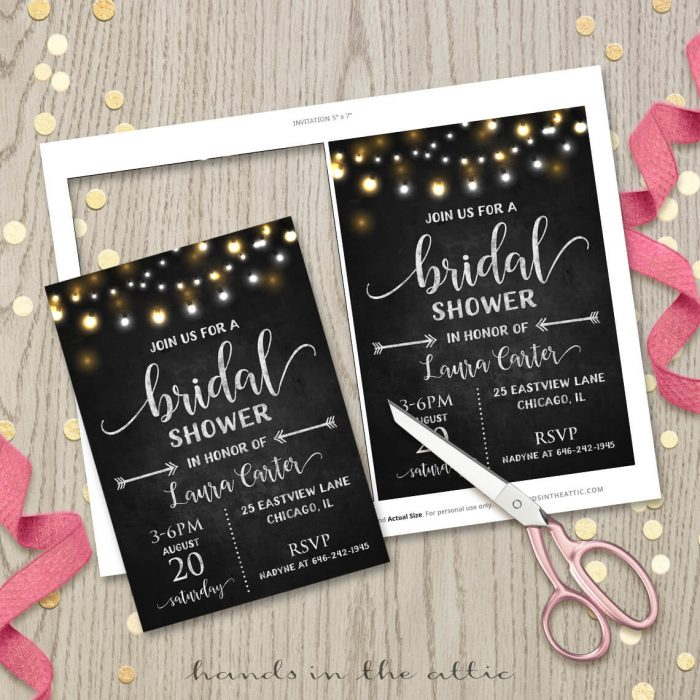 Bridal Shower Black Invitation Chalkboard Lights