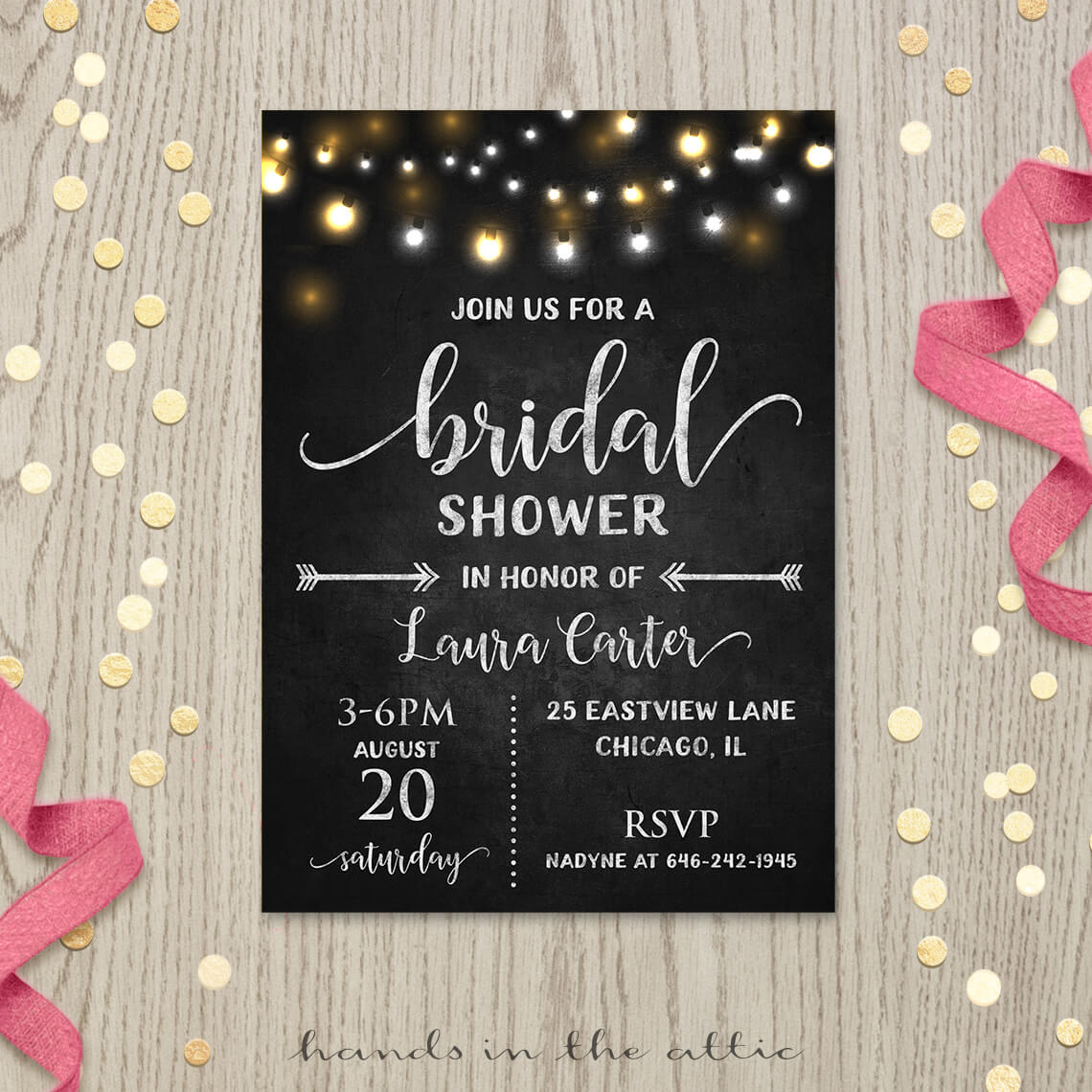 bridal shower invitation chalkboard lights