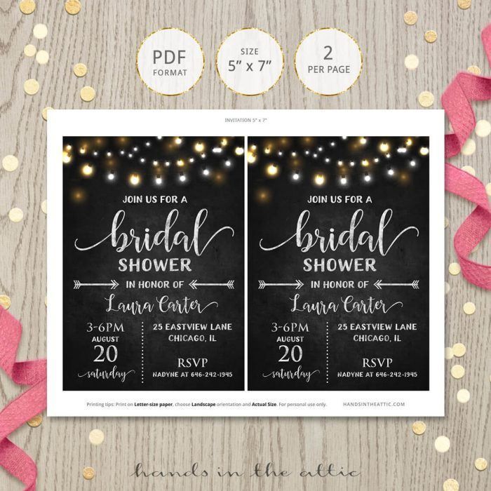 Bridal Shower Invite Chalkboard Lights
