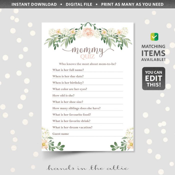 Editable floral mommy quiz game
