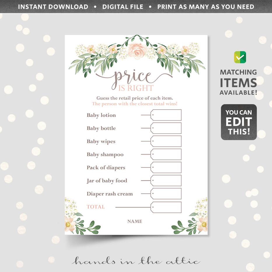 picture regarding Price is Right Baby Shower Game Free Printable known as Editable Rate Is Instantly Little one Shower Match